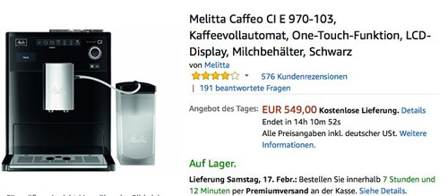Melitta Caffeo CI E 970-103 Kaffeevollautomat - jetzt 5% billiger