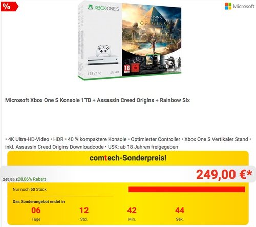 Microsoft Xbox One S Konsole 1TB + Assassin Creed Origins + Rainbow Six - jetzt 11% billiger