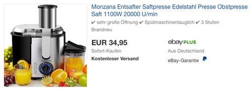 Monzana Entsafter für Obst und Gemüse 1100W - jetzt 24% billiger
