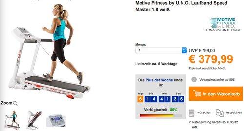 Motive Fitness by U.N.O. Laufband Speed Master 1.8 weiß - jetzt 19% billiger