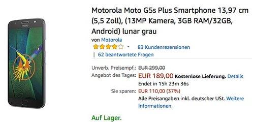Motorola Moto G5s Plus Smartphone - jetzt 17% billiger
