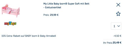 My Little Baby born® Super Soft mit Bett - jetzt 14% billiger