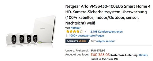Netgear Arlo VMS3430-100EUS Smart Home 4 HD-Kamera-Sicherheitssystem - jetzt 11% billiger