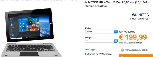 NINETEC Ultratab 10 Pro Convertible Tablet PC 2in1 Windows 10 - jetzt 20% billiger