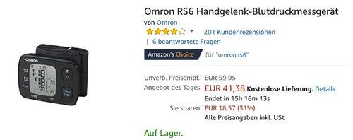Omron RS6 Handgelenk-Blutdruckmessgerät - jetzt 20% billiger