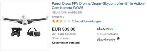 Parrot Disco FPV Drohne im Set mit Skycontroller und FPV-Brille - jetzt 18% billiger