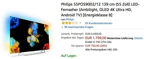 Philips 55POS9002/12 139 cm (55 Zoll) Ambilight OLED 4K Fernseher - jetzt 9% billiger