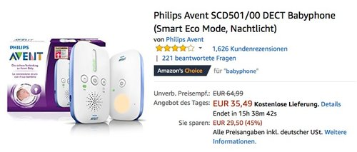 Philips Avent SCD501/00 DECT Babyphone - jetzt 17% billiger