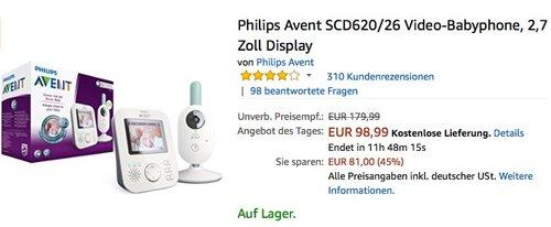 Philips Avent SCD620/26 Video-Babyphone - jetzt 15% billiger
