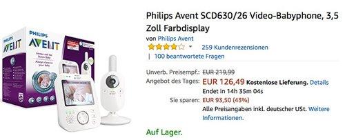 Philips Avent SCD630/26 Video-Babyphone, 3,5 Zoll Farbdisplay - jetzt 16% billiger