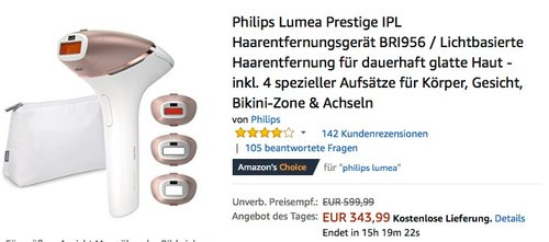 Philips BRI956 Lumea Prestige IPL Haarentfernungsgerät - jetzt 16% billiger