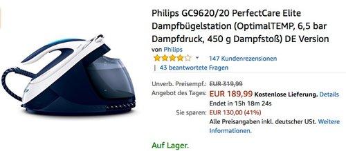 Philips GC9620 20 PerfectCare Elite Dampfbügelstation - jetzt 20% billiger
