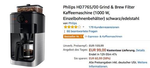 Philips HD7765 Grind & Brew Filter Kaffeemaschine - jetzt 19% billiger