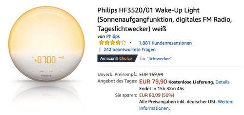 Philips HF3520 01 Wake-Up Light Tageslichtwecker weiß - jetzt 16% billiger