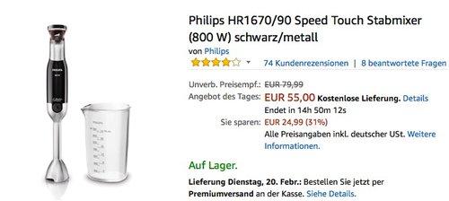 Philips HR1670 90 Speed Touch Stabmixer 800W - jetzt 20% billiger