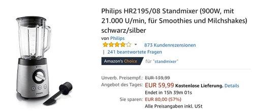 Philips HR2195/08 Standmixer 900W - jetzt 20% billiger