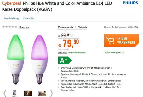 Philips Hue White and Color Ambiance E14 LED Kerze Doppelpack - jetzt 15% billiger