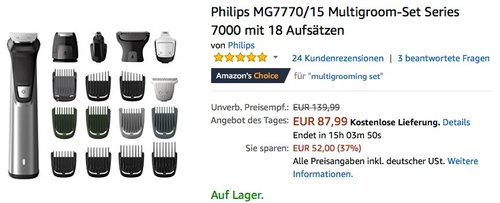 Philips MG7770 15 Multigroom-Set - jetzt 20% billiger