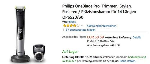 Philips OneBlade Pro, Trimmen, Stylen, Rasieren / Präzisionskamm für 14 Längen QP6520/30 - jetzt 16% billiger