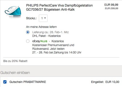 PHILIPS PerfectCare Viva Dampfbügelstation GC7036/27 - jetzt 10% billiger