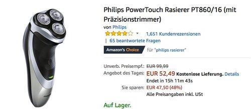 Philips PowerTouch Rasierer PT860/16 - jetzt 12% billiger
