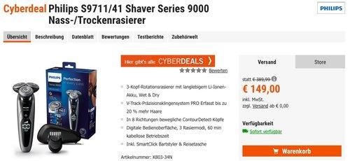 Philips S9711 41 Series 9000 Nass- & Trockenrasierer mit Bartstyler - jetzt 25% billiger