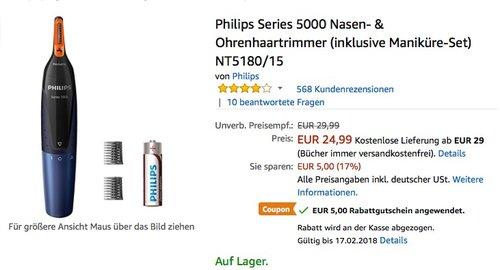 Philips Series 5000 Nasen- & Ohrenhaartrimmer (inklusive Maniküre-Set) NT5180 15 - jetzt 20% billiger