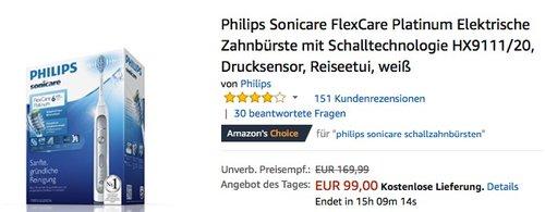 Philips Sonicare FlexCare Platinum Elektrische Zahnbürste mit Schalltechnologie HX9111 20 - jetzt 18% billiger