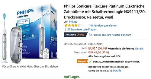 Philips Sonicare FlexCare Platinum HX9111/20 Elektrische Zahnbürste - jetzt 16% billiger