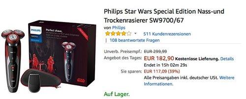 Philips Star Wars Special Edition Nass-und Trockenrasierer SW9700 67 - jetzt 12% billiger