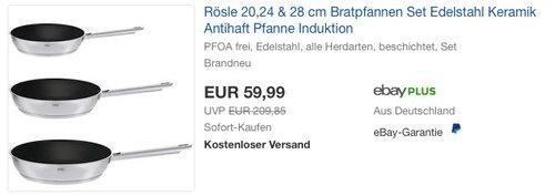 Rösle Pfannenset 3-teilig 20, 24 und 28 cm mit Keramikbeschichtung - jetzt 14% billiger