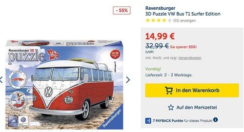 Ravensburger 3D Puzzle VW Bus T1 Surfer Edition - jetzt 28% billiger