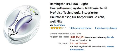 Remington IPL6500 i-Light Haarentfernungssystem - jetzt 22% billiger