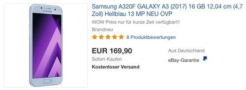 Samsung A320F GALAXY A3 (2017) 16 GB blau - jetzt 15% billiger
