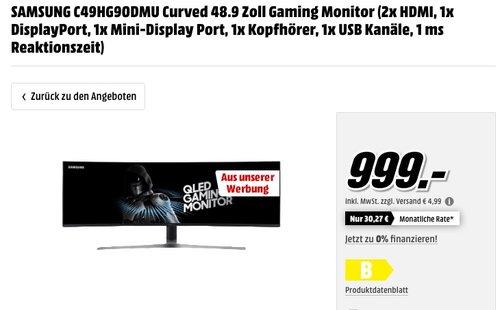 SAMSUNG C49HG90DMU  Curved Gaming Monitor - jetzt 16% billiger