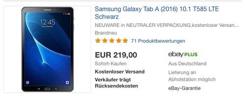 Samsung Galaxy Tab A (2016) 10.1 T585 LTE - jetzt 8% billiger