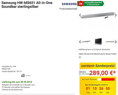 Samsung HW-MS651 All-in-One Soundbar - jetzt 10% billiger