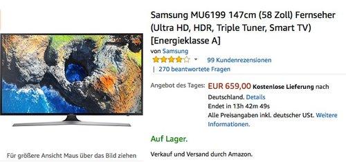 Samsung MU6199 147cm (58 Zoll) Fernseher - jetzt 18% billiger
