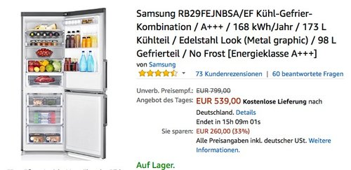 Samsung RB29FEJNBSA Kühl-Gefrier-Kombination - jetzt 10% billiger