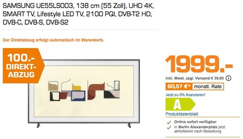 "Samsung UE55LS003AUXZG LS003 The Frame 55"" 138cm Art TV LED UHD - jetzt 5% billiger"