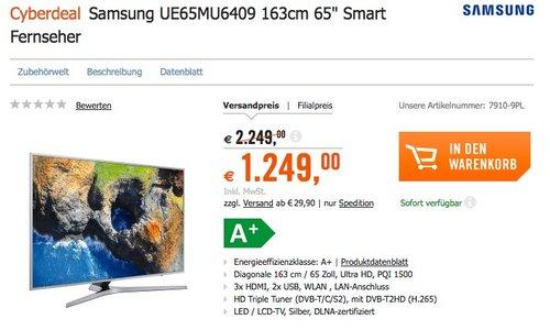 """Samsung UE65MU6409 163cm 65"""" Zoll Fernseher - jetzt 5% billiger"""