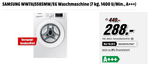 SAMSUNG WW7AJ5585MW/EG Waschmaschine (7 kg, 1400 U/Min., A+++) - jetzt 28% billiger