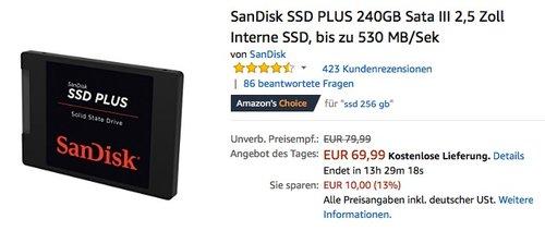 SanDisk SSD PLUS 240GB Sata III 2,5 Zoll Interne SSD Festplatte - jetzt 14% billiger