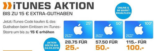 Saturn: 15% Extra-Guthaben beim Kauf von iTunes Guthaben 25€, 50€ oder 100€ bis 04.03 - jetzt 13% billiger