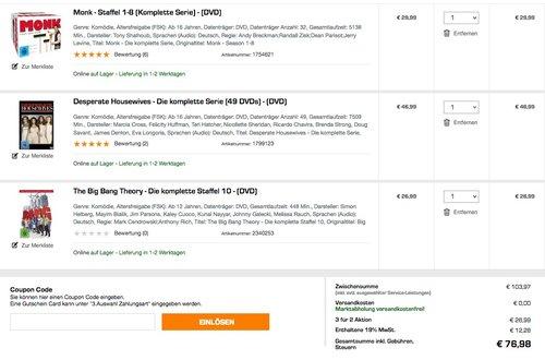 Saturn: NIMM 3 ZAHL 2 - Aktion (bis zum11.02.) auf TV-Serien, TV-Komplettboxen und DVD & Blu-ray - jetzt 26% billiger