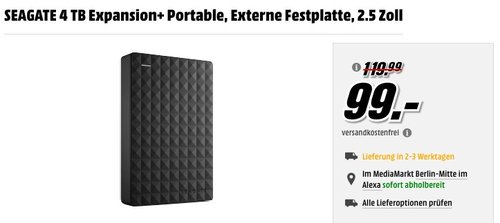 SEAGATE Expansion+ Portable 4 TB externe Festplatte 2.5 Zoll - jetzt 12% billiger