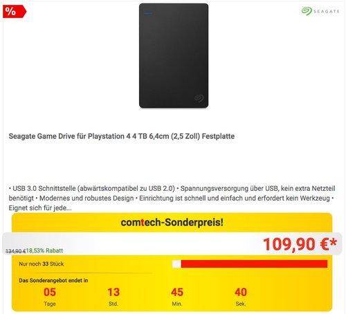 Seagate Game Drive für Playstation 4 4TB  externe Festplatte - jetzt 9% billiger