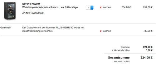 Severin KS 9894 Weinkühlschrank - jetzt 12% billiger