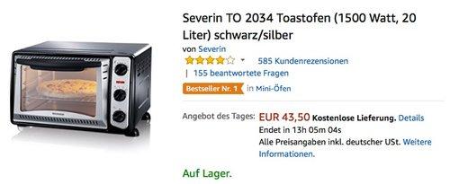 Severin TO 2034 Toastofen schwarz silber - jetzt 16% billiger