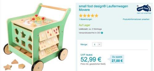 small foot design® Lauflernwagen Movere - jetzt 10% billiger